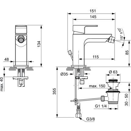 Baterie bideu Ideal Standard Edge, ventil metalic pop-up