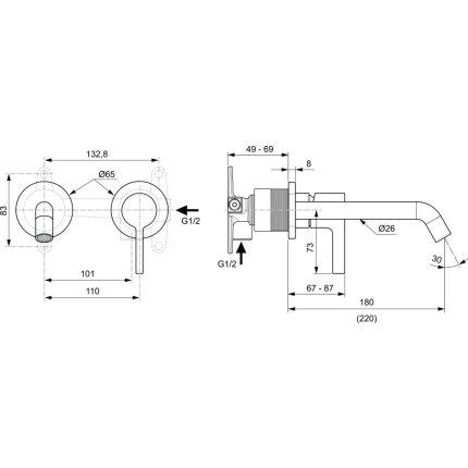 Baterie lavoar Ideal Standard Joy de perete, pipa 180mm, necesita corp ingropat, silver storm