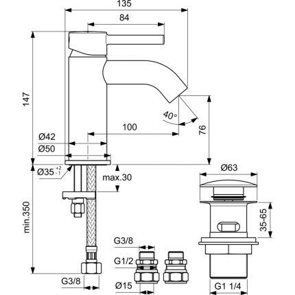 Baterie lavoar Ideal Standard Ceraline, ventil push-open