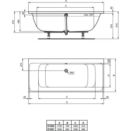 Cada rectangulara Ideal Standard Connect Air DUO 170x75 cm
