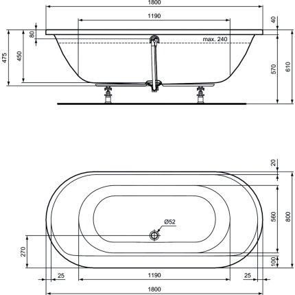 Cada ovala Ideal Standard Connect Air 180x80cm