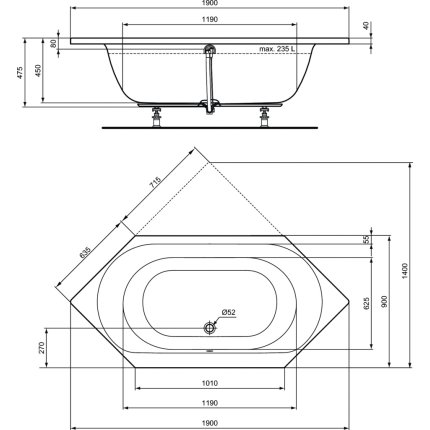 Cada hexagonala Ideal Standard Connect Air 190x90cm