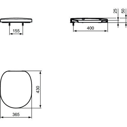 Capac wc Ideal Standard Connect Freedom cu diametru mare si inchidere lenta