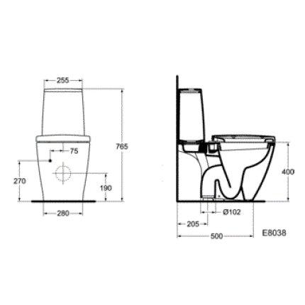 Vas WC Ideal Standard Connect evacuare verticala