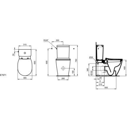 Set complet vas WC Ideal Standard Connect back-to-wall cu rezervor asezat si capac inchidere lenta