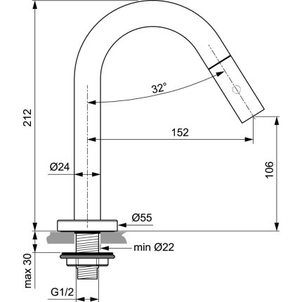 Baterie lavoar Ideal Standard IdealStream R152 pentru apa rece, fara ventil