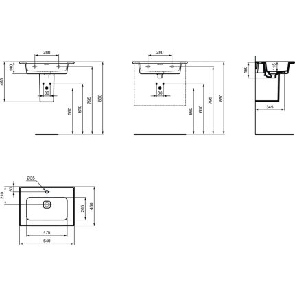 Lavoar Ideal Standard Strada II 64cm, montare pe mobilier sau cu semipicior
