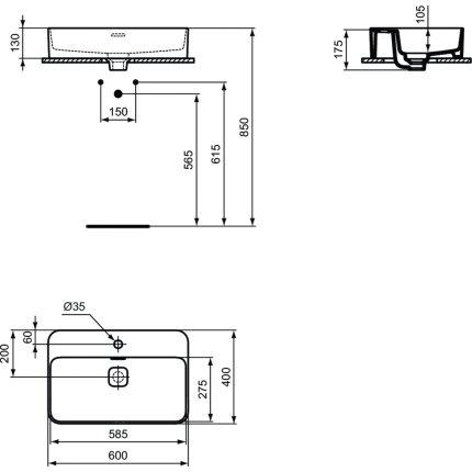 Lavoar Ideal Standard Strada II 60x40cm, montare pe mobilier
