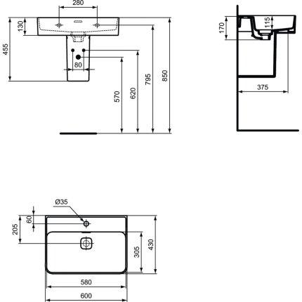 Lavoar Ideal Standard Strada II 60x43cm