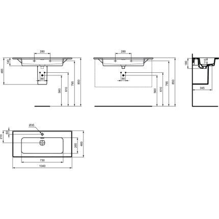 Lavoar Ideal Standard Strada II 104cm, montare pe mobilier sau cu semipicior