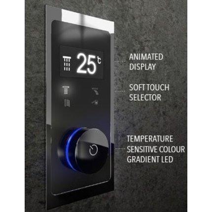 Baterie de cada electronica termostatata Steinberg seria 390 iFlow cu 4 cai, montaj incastrat, corp ingropat inclus, crom-negru