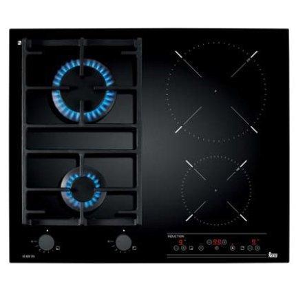 Plita mixta incorporabila Teka IG 620 2G AI AL CI cu 2 arzatoare gaz si 2 zone inductie, 60 cm, fara rama, negru