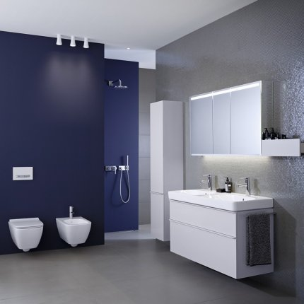 Lavoar dublu Geberit Smyle Square 120x48cm, montare pe mobilier, alb