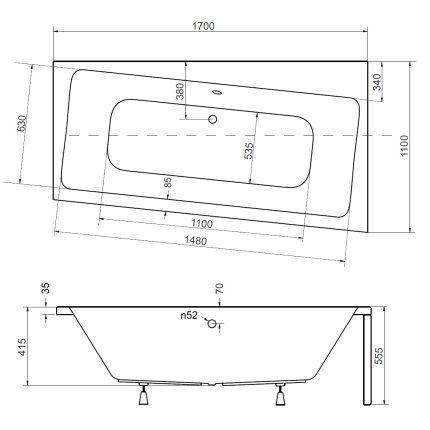 Cada baie asimetrica Besco Infinity 170x110cm, acril, orientare dreapta