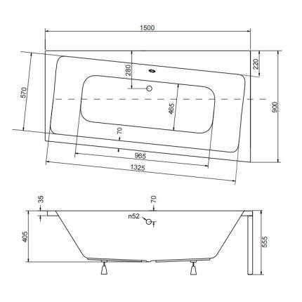 Cada baie asimetrica Besco Infinity 150x90cm, acril, orientare dreapta
