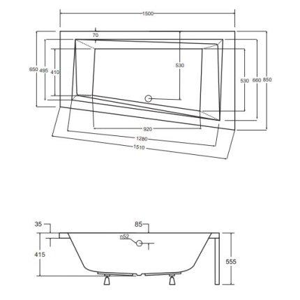 Cada baie asimetrica Besco Intima 150x85cm, acril, orientare stanga