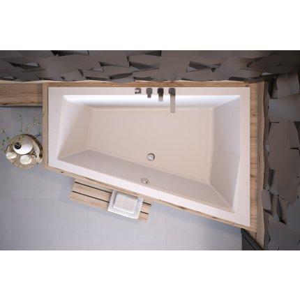 Cada asimetrica Besco Intima Duo Slim 170x125cm, acril, incastrabila, orientare dreapta