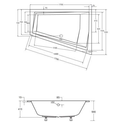 Cada baie asimetrica Besco Intima Duo Slim 170x125cm, acril, incastrabila, orientare dreapta