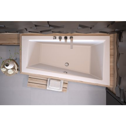 Cada baie asimetrica Besco Intima Slim 160x90cm, acril, orientare dreapta