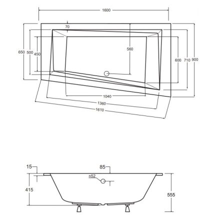 Cada baie asimetrica Besco Intima Slim 160x90cm, acril, orientare stanga