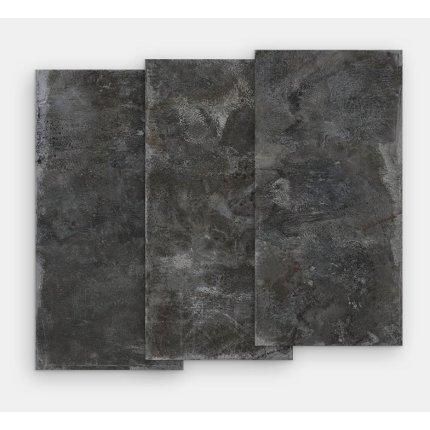 Gresie portelanata rectificata FMG Lamiere Maxfine 75x37.5cm, 6mm, Black Iron