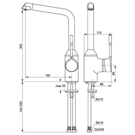 Baterie bucatarie Ideal Standard Retta cu pipa inalta