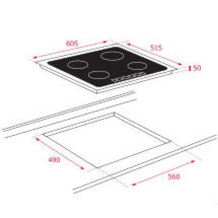 Plita inductie incorporabila Teka IT 6420 Space cu 4 zone, 60 cm, rama metalica slim, negru