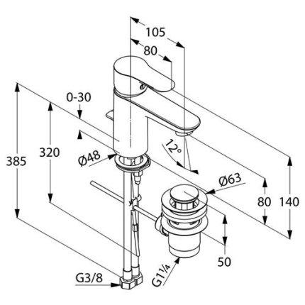 Baterie lavoar Kludi Objekta, ventil pop-up