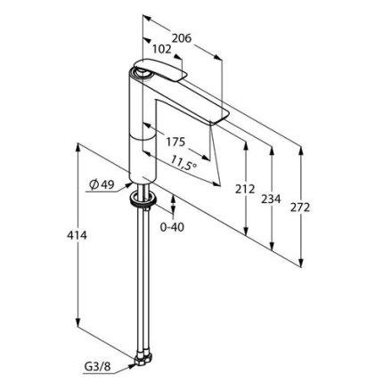 Baterie lavoar Kludi Balance 212 fara ventil, pentru lavoar tip bol, crom