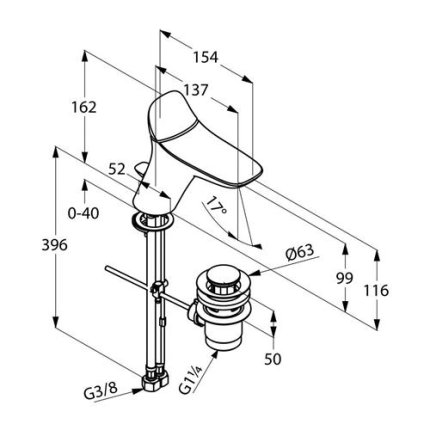 Baterie lavoar Kludi Amba, ventil pop-up