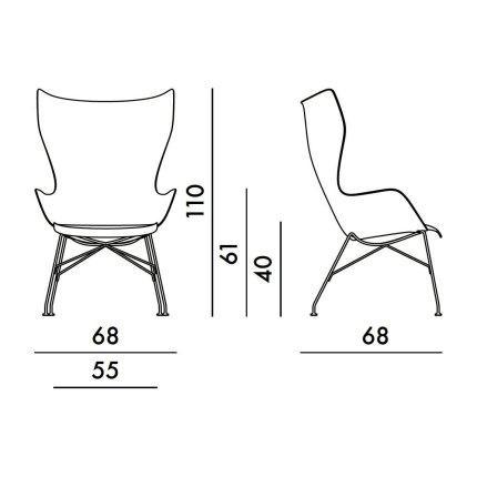 Fotoliu Kartell Smart Wood K/Wood design Philippe Stark, Basic Veneer, Light wood, picioare crom