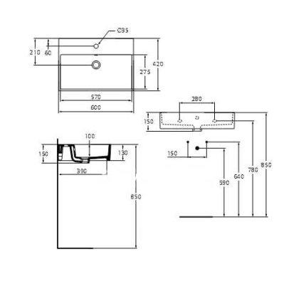 Lavoar Ideal Standard Strada 60x42cm, montare pe mobilier