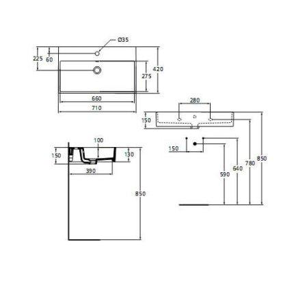 Lavoar Ideal Standard Strada 71x42cm, montare pe mobilier
