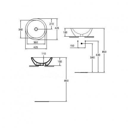Lavoar Ideal Standard Strada 42cm, fara orificiu baterie, fara preaplin, montare pe blat
