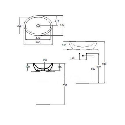 Lavoar Ideal Standard Strada 60x42cm, fara orificiu baterie, fara preaplin, montare pe blat