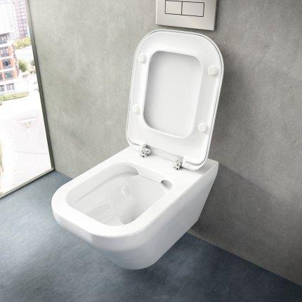 Set vas WC suspendat Ideal Standard Tonic II Rimless cu capac inchidere lenta
