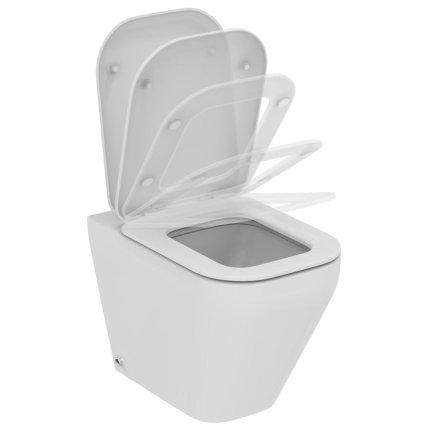 Set vas WC Ideal Standard Tonic II AquaBlade back-to-wall cu capac inchidere lenta, pentru rezervor ingropat