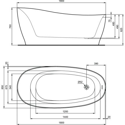 Cada free-standing Ideal Standard Around 180x85cm, cu sifon tip push-open inclus, alb mat
