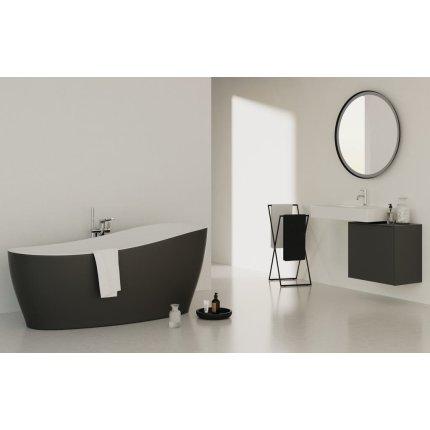 Cada free-standing Ideal Standard Around 180x85cm, cu sifon tip push-open inclus, alb lucios/negru