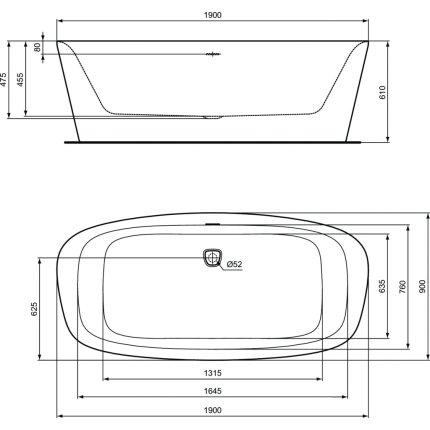 Cada free-standing Ideal Standard Dea 190x90cm, cu sifon tip push-open inclus, alb lucios/negru