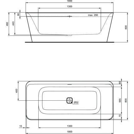 Cada free-standing Ideal Standard Tonic II 180x80cm, cu sifon tip push-open inclus, alb lucios/negru