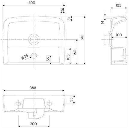 Set mobilier Kolo Rekord 40cm lavoar si dulap baza cu o usa, alb lucios