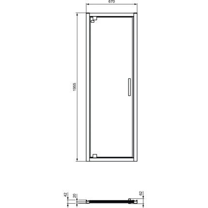 Usa de nisa batanta tip pivot Ideal Standard Connect 2 75cm, sticla 6mm tratata IdealClean
