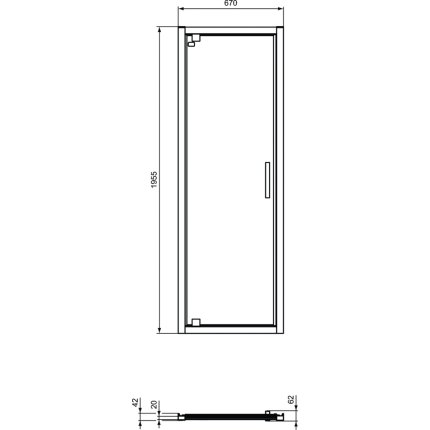 Usa de nisa batanta tip pivot Ideal Standard Connect 2 90cm, sticla 6mm tratata IdealClean