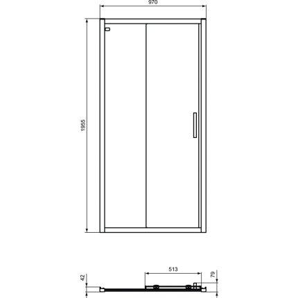 Usa de nisa culisanta Ideal Standard Connect 2 110cm, sticla 6mm tratata IdealClean