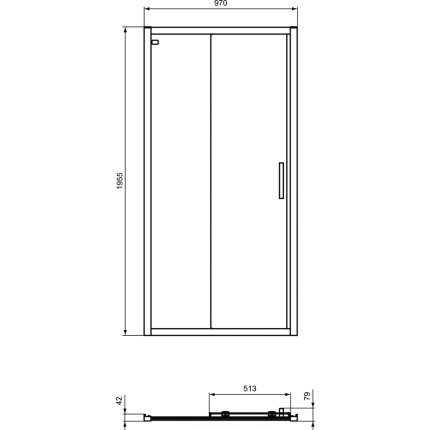 Usa de nisa culisanta Ideal Standard Connect 2 120cm, sticla 6mm tratata IdealClean