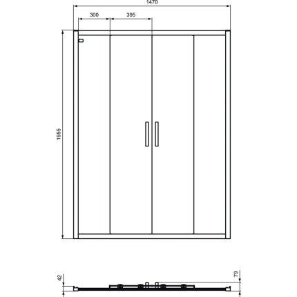 Usa de nisa culisanta tip cortina Ideal Standard Connect 2 150cm, sticla 6mm tratata IdealClean