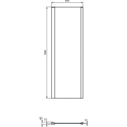 Perete fix Ideal Standard Connect 2 70cm, sticla 6mm tratata IdealClean