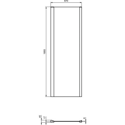 Perete fix Ideal Standard Connect 2 80cm, sticla 6mm tratata IdealClean