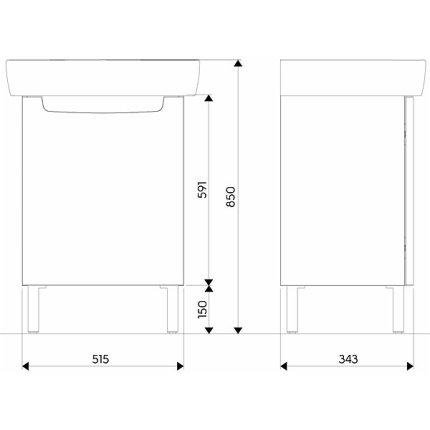 Set mobilier Kolo Rekord 60cm lavoar si dulap baza cu o usa, alb lucios